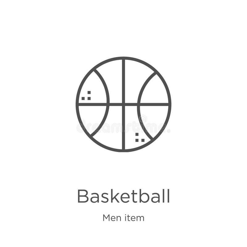 vecteur d'icône de basket-ball de collection d'article des hommes Ligne mince illustration de vecteur d'ic?ne d'ensemble de baske illustration de vecteur