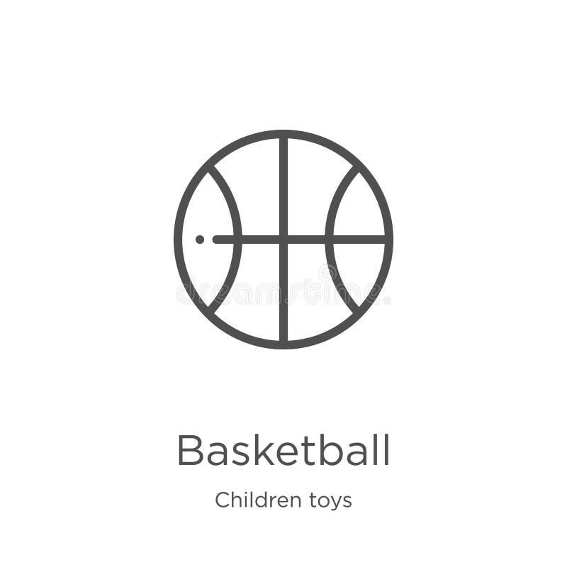 vecteur d'icône de basket-ball de collection de jouets d'enfants Ligne mince illustration de vecteur d'icône d'ensemble de basket illustration de vecteur