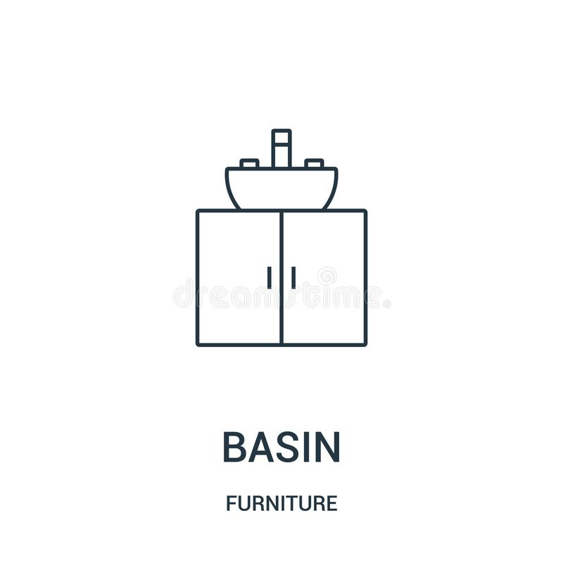 vecteur d'icône de bassin de collection de meubles Ligne mince illustration de vecteur d'icône d'ensemble de bassin Symbole linéa illustration de vecteur