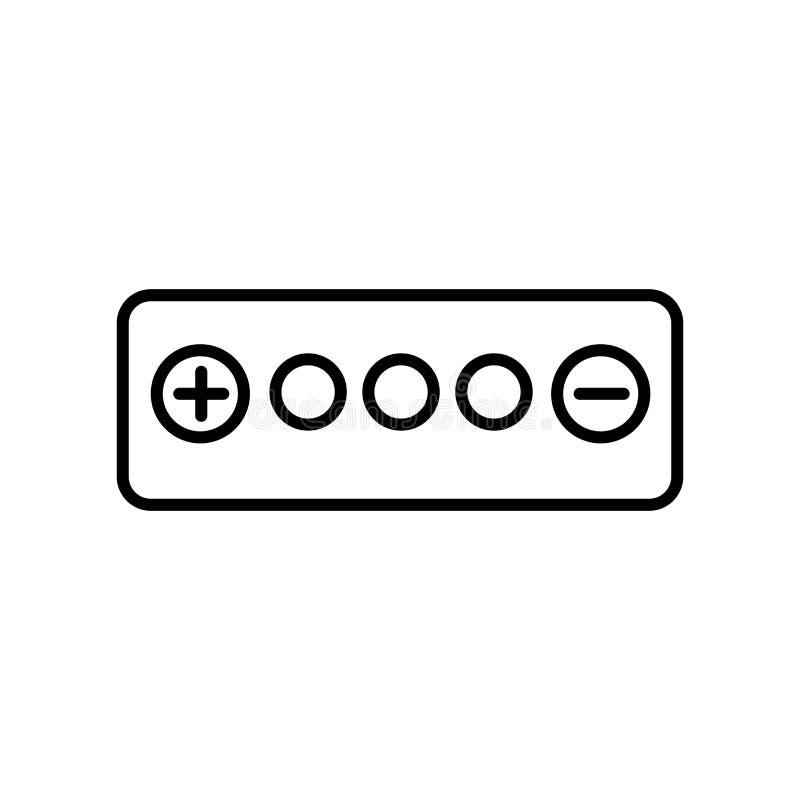 Vecteur d'icône de batterie d'isolement sur le fond, le signe de batterie, le signe et les symboles blancs dans le style linéaire illustration stock