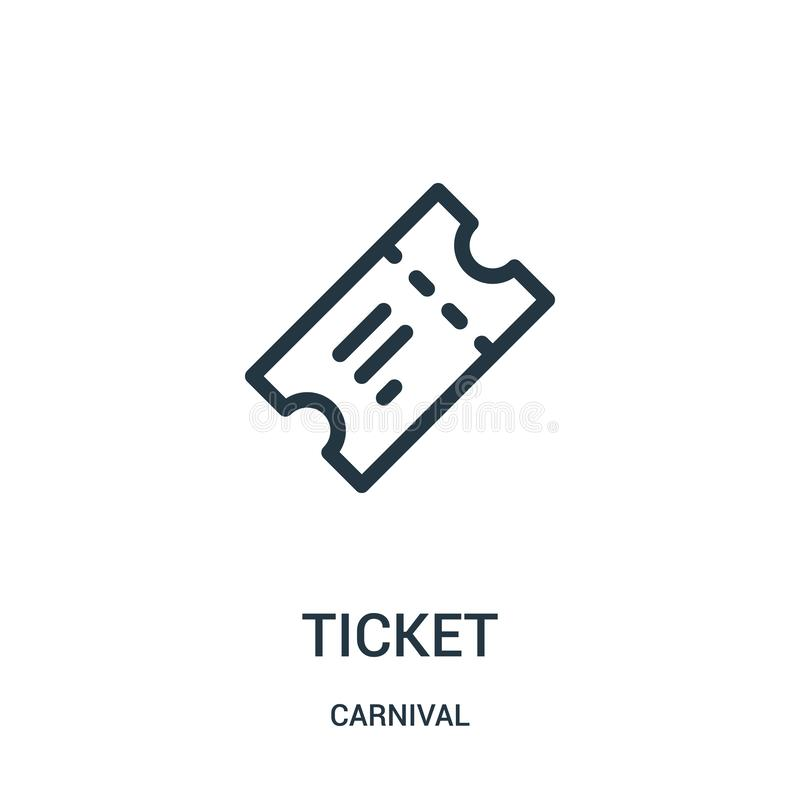 vecteur d'icône de billet de collection de carnaval Ligne mince illustration de vecteur d'icône d'ensemble de billet illustration libre de droits
