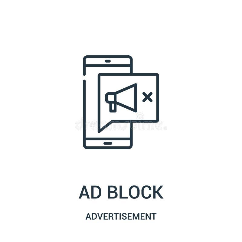 vecteur d'icône de bloc d'annonce de collection de publicité Ligne mince illustration de vecteur d'icône d'ensemble de bloc d'ann illustration de vecteur