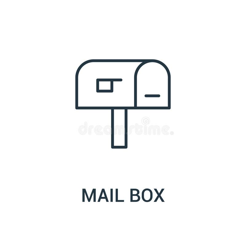 vecteur d'icône de boîte aux lettres de collection d'annonces Ligne mince illustration de vecteur d'icône d'ensemble de boîte aux illustration stock
