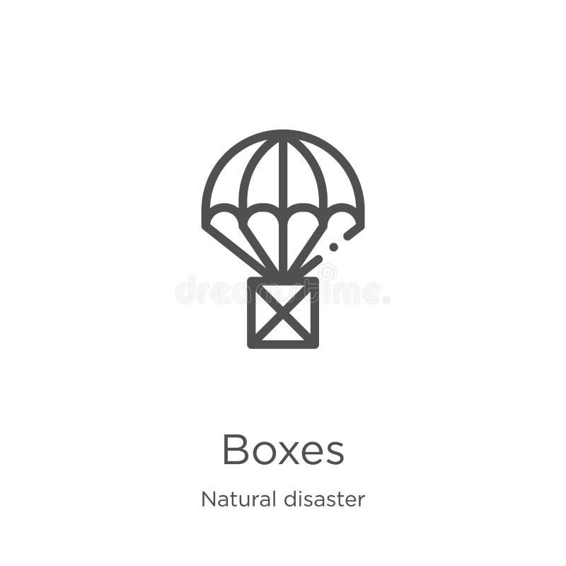 vecteur d'icône de boîtes de collection de catastrophe naturelle Ligne mince illustration de vecteur d'ic?ne d'ensemble de bo?tes illustration libre de droits