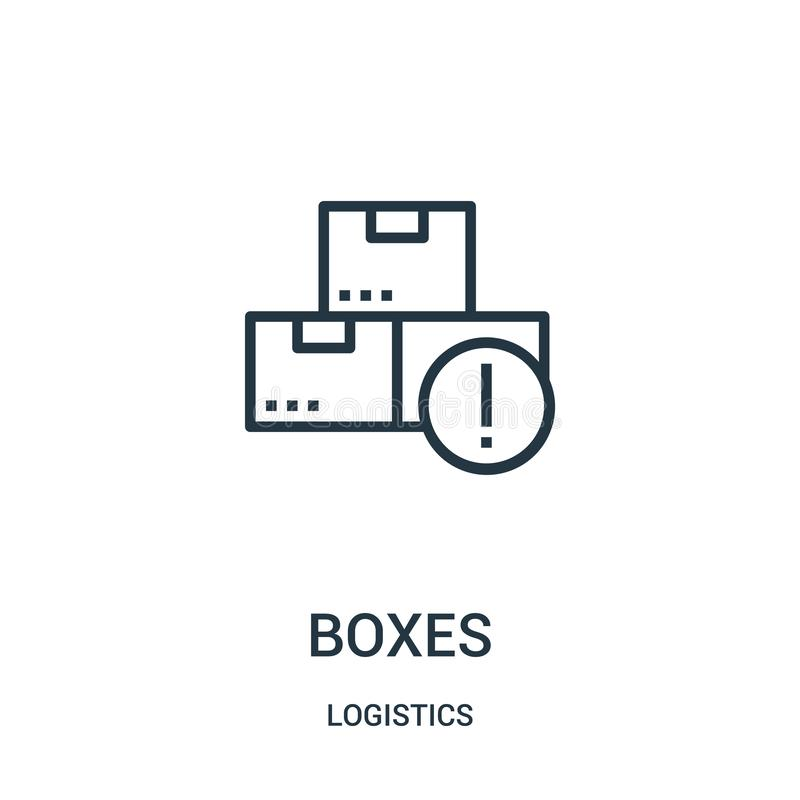 vecteur d'icône de boîtes de collection de logistique Ligne mince illustration de vecteur d'icône d'ensemble de boîtes Symbole li illustration libre de droits