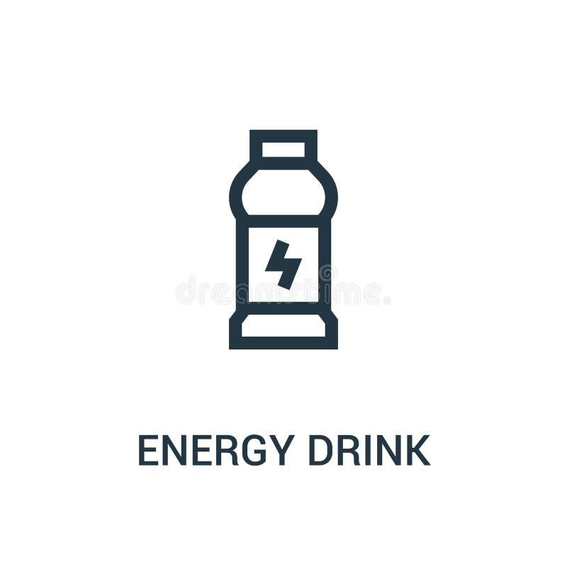 vecteur d'icône de boissons d'énergie de collection de gymnase Ligne mince illustration de vecteur d'icône d'ensemble de boissons illustration de vecteur