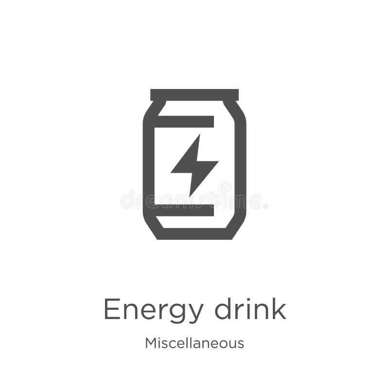 vecteur d'icône de boissons d'énergie de la collection diverse Ligne mince illustration de vecteur d'ic?ne d'ensemble de boissons illustration de vecteur