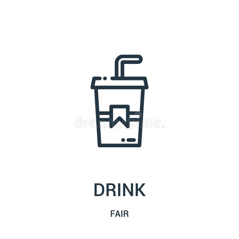 vecteur d'icône de boissons de la collection juste Ligne mince illustration de vecteur d'icône d'ensemble de boissons Symbole lin illustration libre de droits