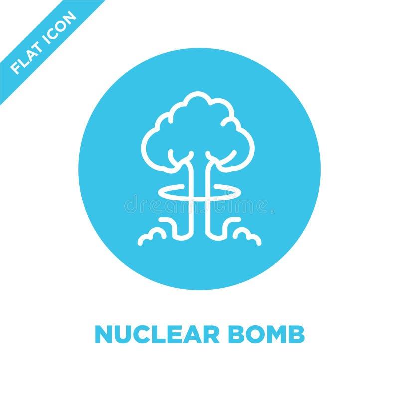 vecteur d'icône de bombe nucléaire de la collection militaire Ligne mince illustration de vecteur d'icône d'ensemble de bombe nuc illustration libre de droits