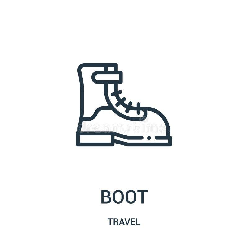 vecteur d'icône de botte de collection de voyage Ligne mince illustration de vecteur d'icône d'ensemble de botte Symbole linéaire illustration de vecteur