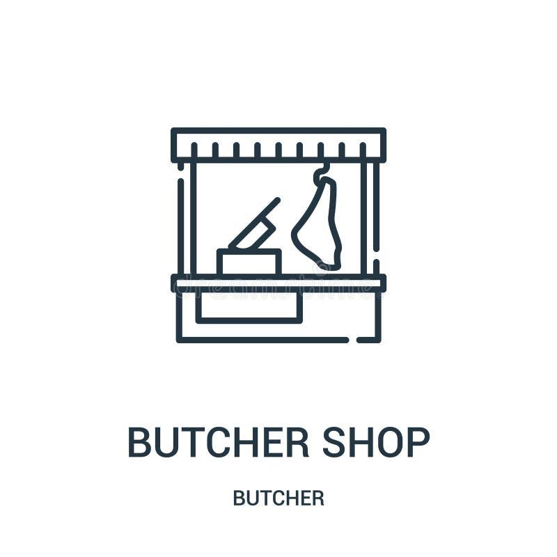 vecteur d'icône de boucherie de collection de boucher Ligne mince illustration de vecteur d'icône d'ensemble de boucherie Symbole illustration libre de droits