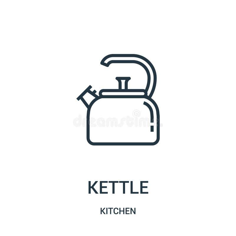 vecteur d'icône de bouilloire de collection de cuisine Ligne mince illustration de vecteur d'icône d'ensemble de bouilloire illustration libre de droits