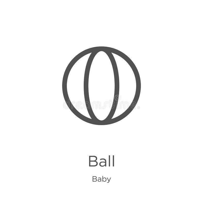vecteur d'icône de boule de collection de bébé Ligne mince illustration de vecteur d'ic?ne d'ensemble de boule Contour, ligne min illustration libre de droits