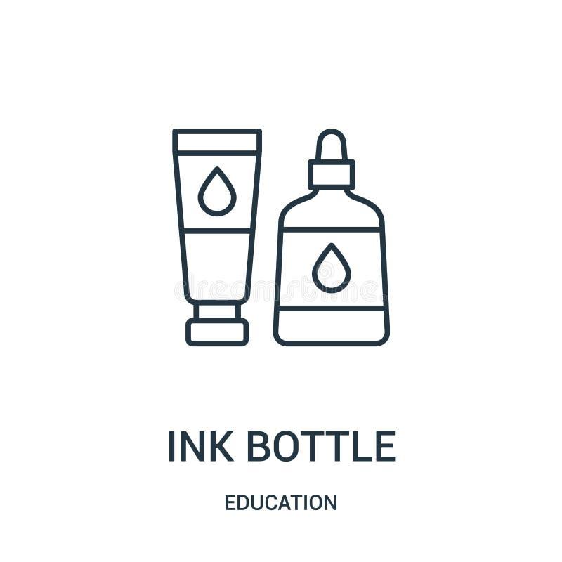 vecteur d'icône de bouteille d'encre de collection d'éducation Ligne mince illustration de vecteur d'ic?ne d'ensemble de bouteill illustration libre de droits