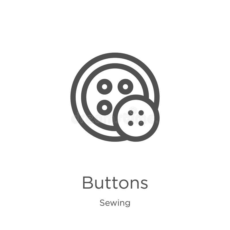 vecteur d'icône de boutons de la collection de couture Ligne mince illustration de vecteur d'icône d'ensemble de boutons Contour, illustration de vecteur