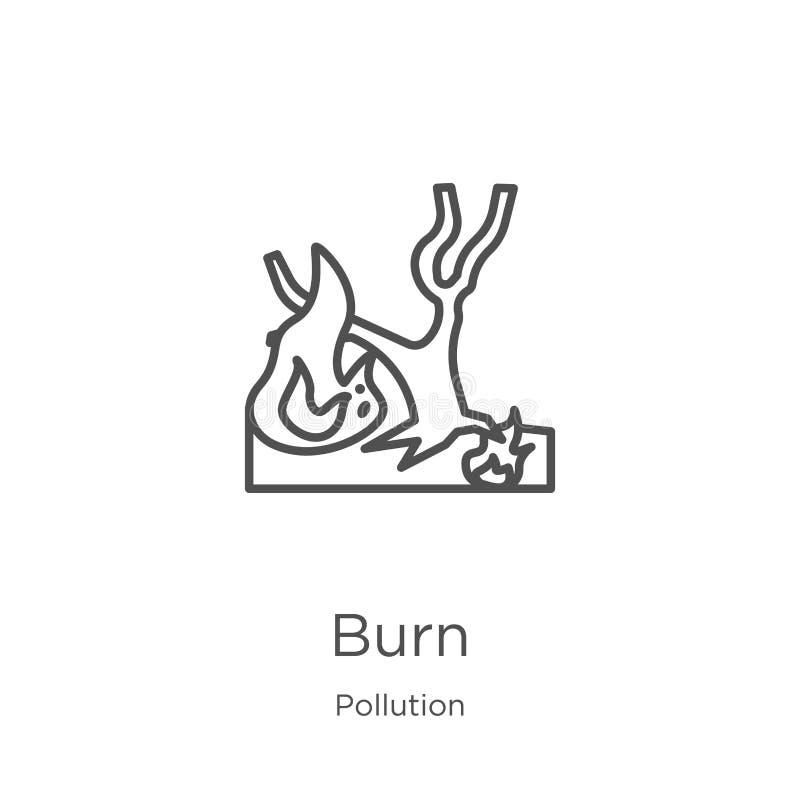 vecteur d'icône de brûlure de collection de pollution Ligne mince illustration de vecteur d'icône d'ensemble de brûlure Contour,  illustration stock