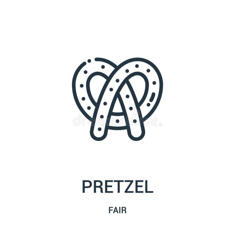 vecteur d'icône de bretzel de la collection juste Ligne mince illustration de vecteur d'icône d'ensemble de bretzel Symbole linéa illustration libre de droits