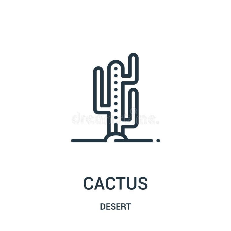 vecteur d'icône de cactus de collection de désert Ligne mince illustration de vecteur d'icône d'ensemble de cactus Symbole linéai illustration stock
