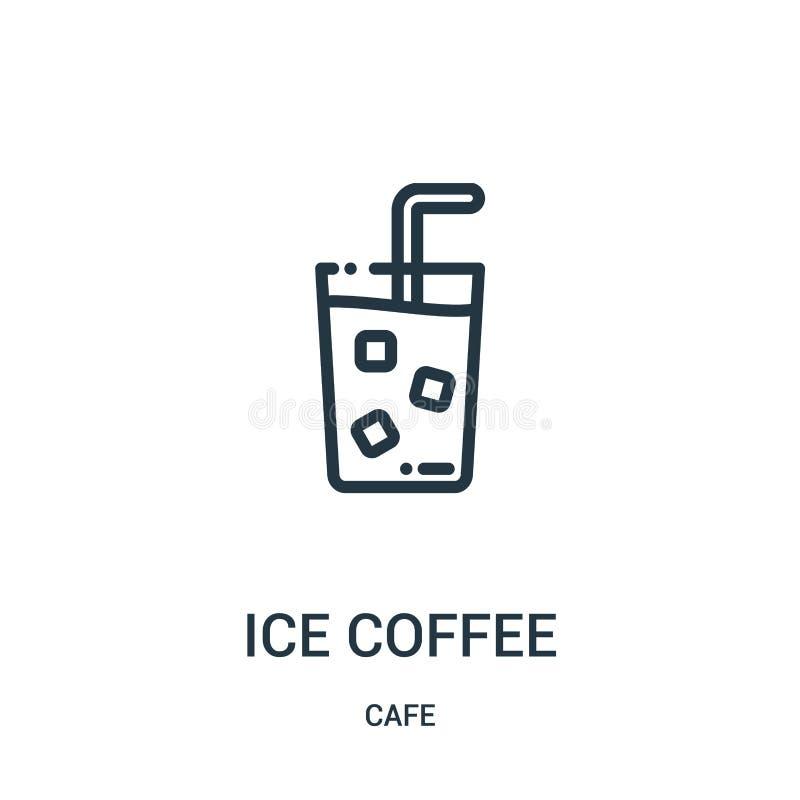 vecteur d'icône de café de glace de collection de café Ligne mince illustration de vecteur d'icône d'ensemble de café de glace Sy illustration stock