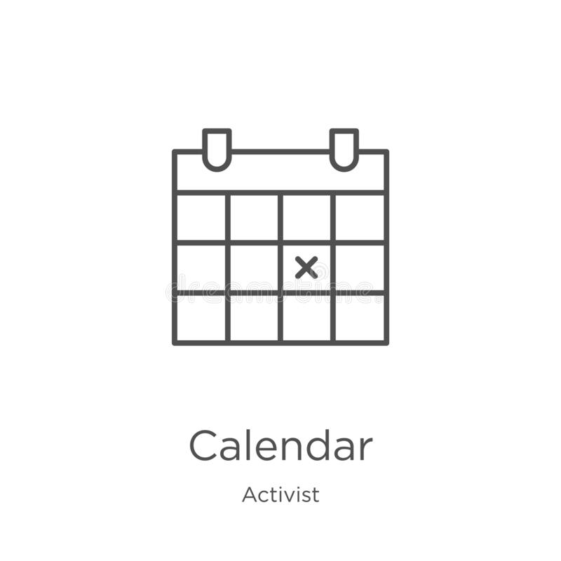 vecteur d'icône de calendrier de collection d'activiste Ligne mince illustration de vecteur d'icône d'ensemble de calendrier Cont illustration libre de droits
