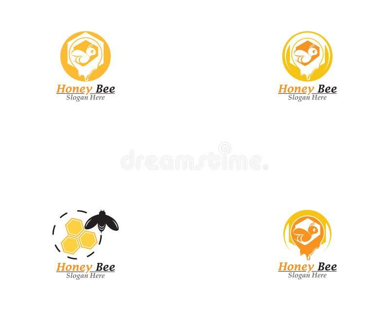 Vecteur d'icône de calibre de logo de peigne d'abeille et de miel illustration libre de droits