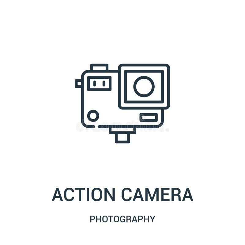 vecteur d'icône de caméra d'action de collection de photographie Ligne mince illustration de vecteur d'ic?ne d'ensemble de cam?ra illustration de vecteur