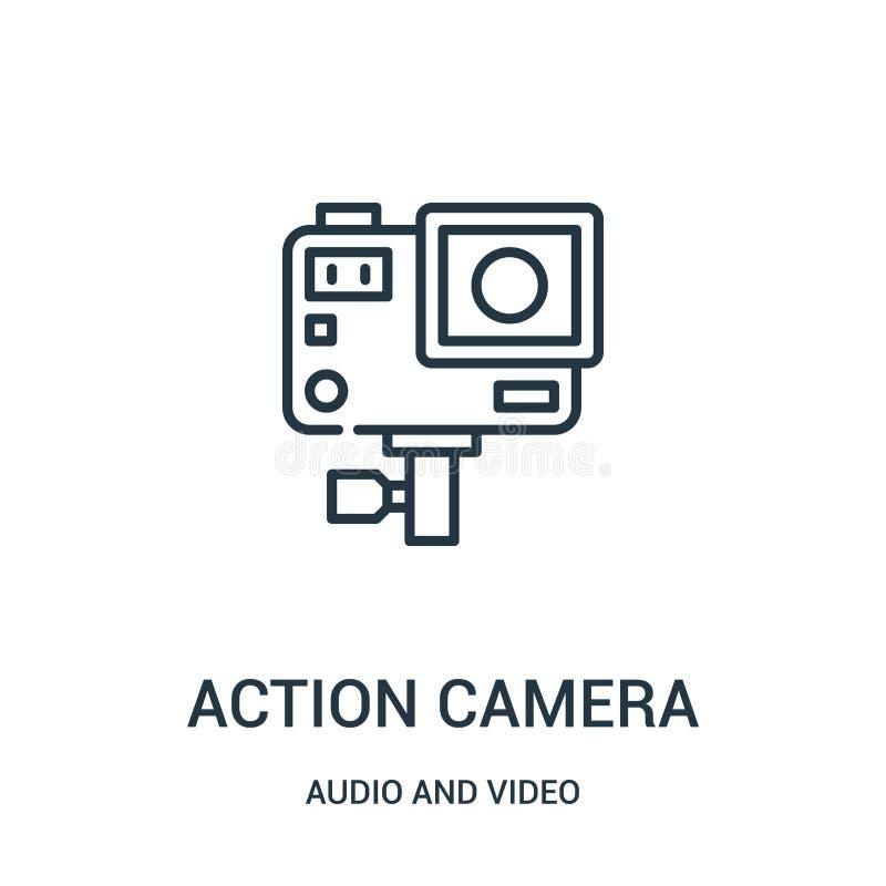 vecteur d'icône de caméra d'action de la collection audio et visuelle Ligne mince illustration de vecteur d'icône d'ensemble de c illustration libre de droits