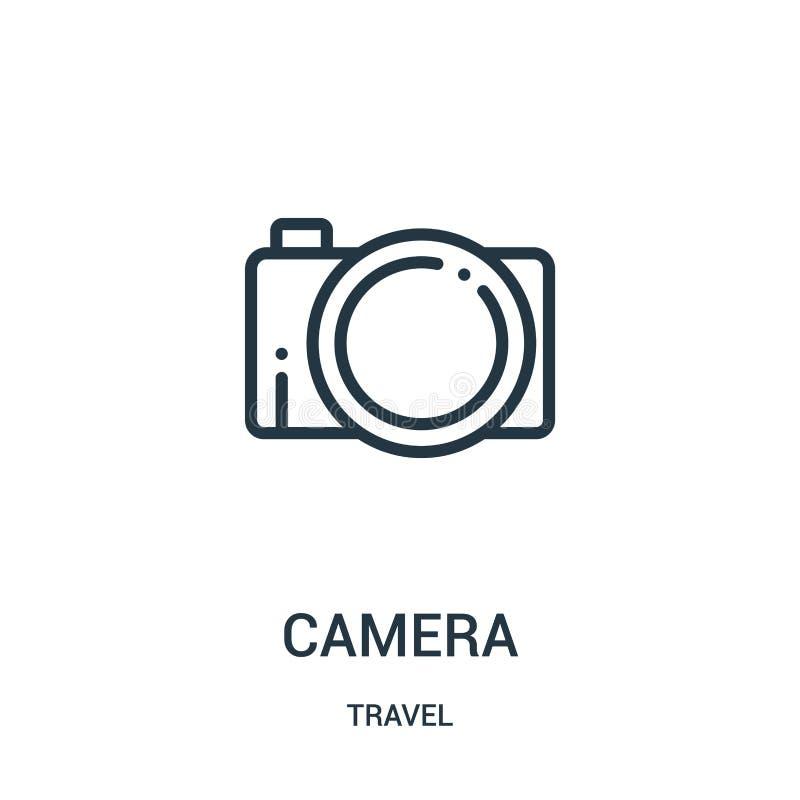 vecteur d'icône de caméra de collection de voyage Ligne mince illustration de vecteur d'icône d'ensemble de caméra Symbole linéai illustration stock