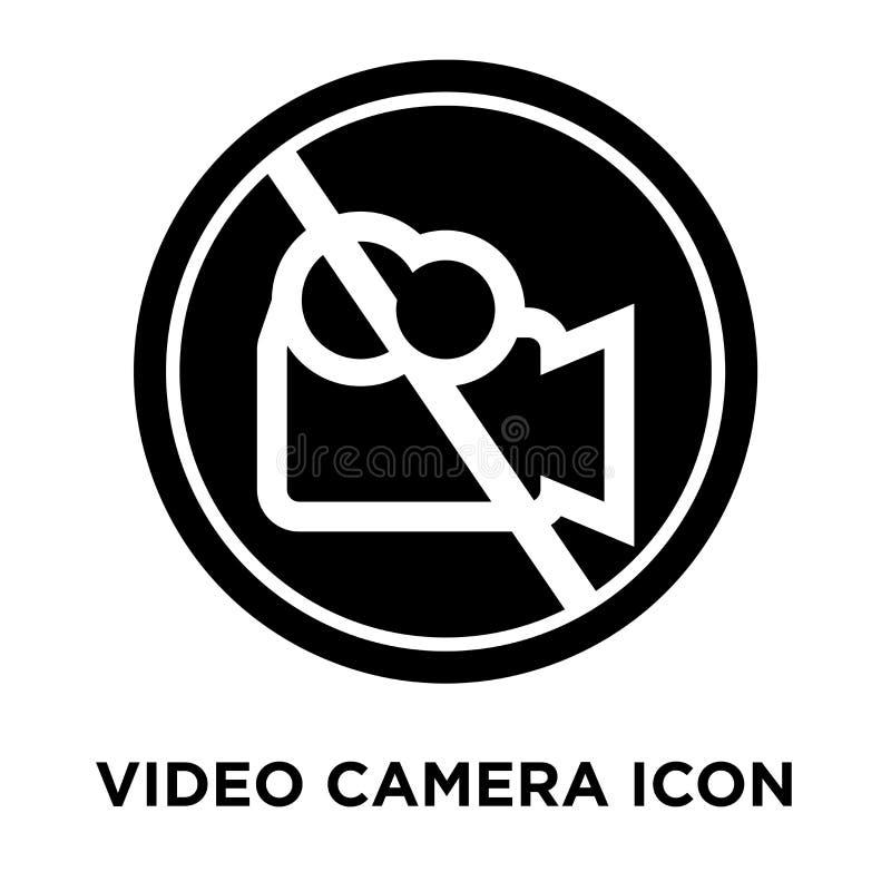 Vecteur d'icône de caméra vidéo d'isolement sur le fond blanc, logo concentré illustration stock