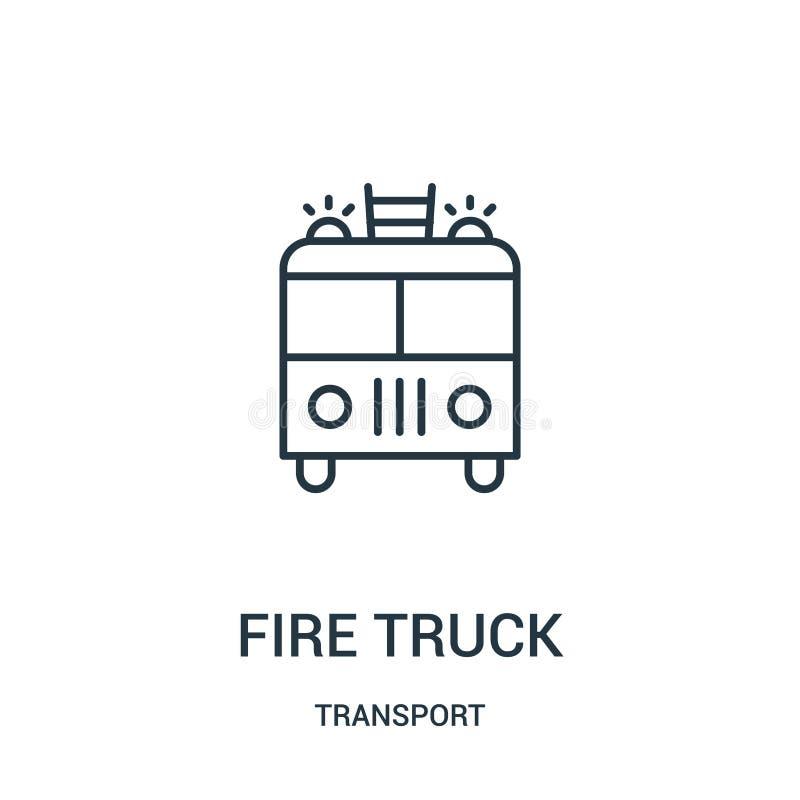 vecteur d'icône de camion de pompiers de collection de transport Ligne mince illustration de vecteur d'icône d'ensemble de camion illustration stock