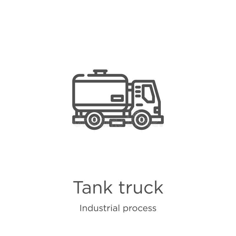 vecteur d'icône de camion de réservoir de collection de processus industriel Ligne mince illustration de vecteur d'icône d'ensemb illustration libre de droits