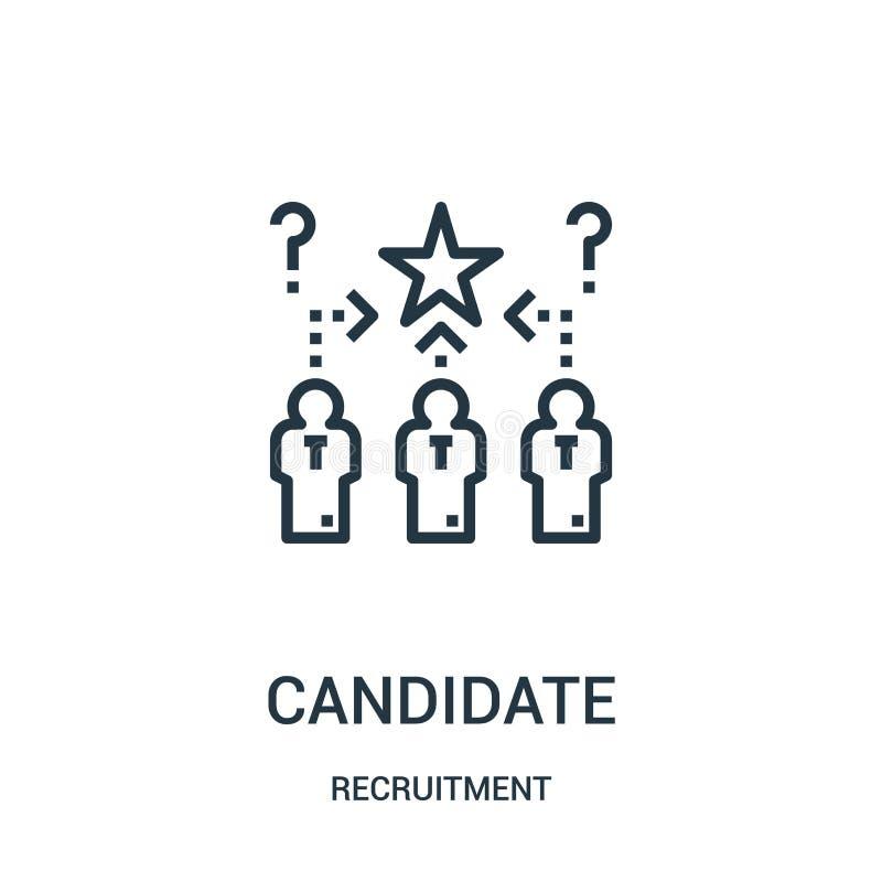 vecteur d'icône de candidat de collection de recrutement Ligne mince illustration de vecteur d'icône d'ensemble de candidat illustration de vecteur
