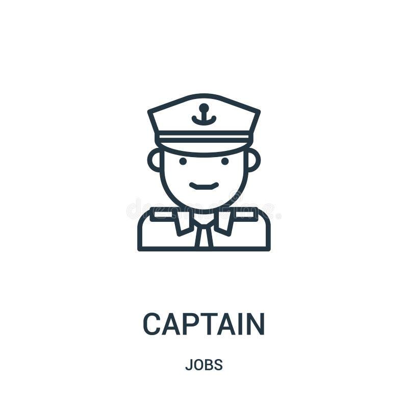 vecteur d'icône de capitaine de collection des travaux Ligne mince illustration de vecteur d'ic?ne d'ensemble de capitaine Symbol illustration stock