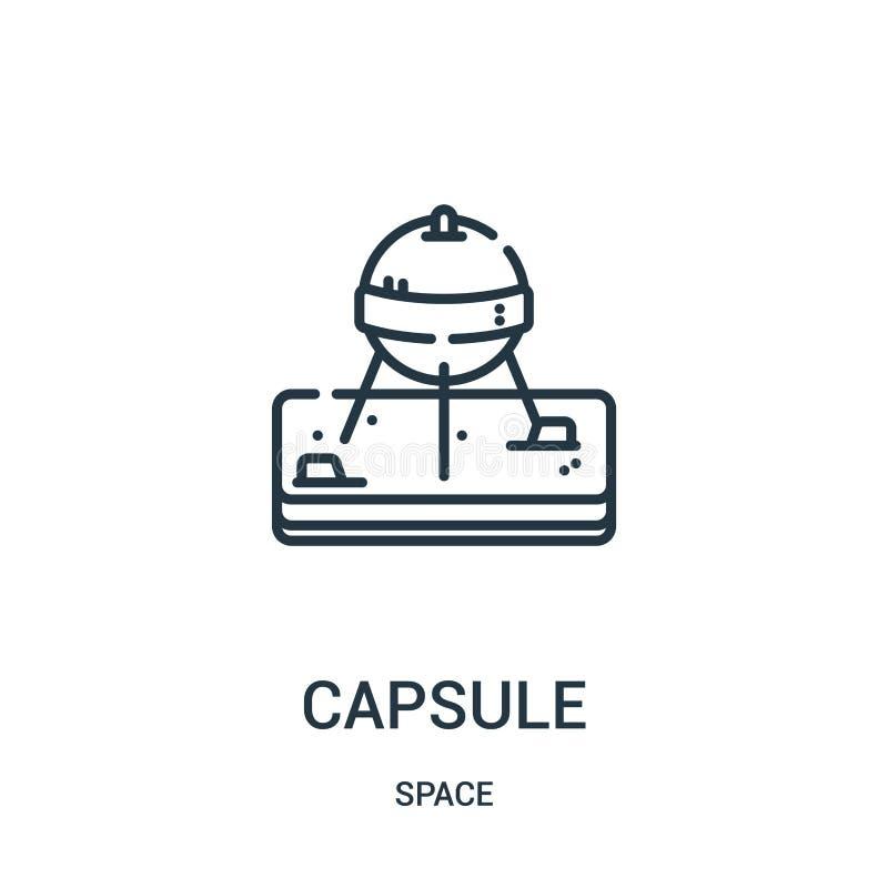 vecteur d'icône de capsule de collection de l'espace Ligne mince illustration de vecteur d'icône d'ensemble de capsule illustration libre de droits