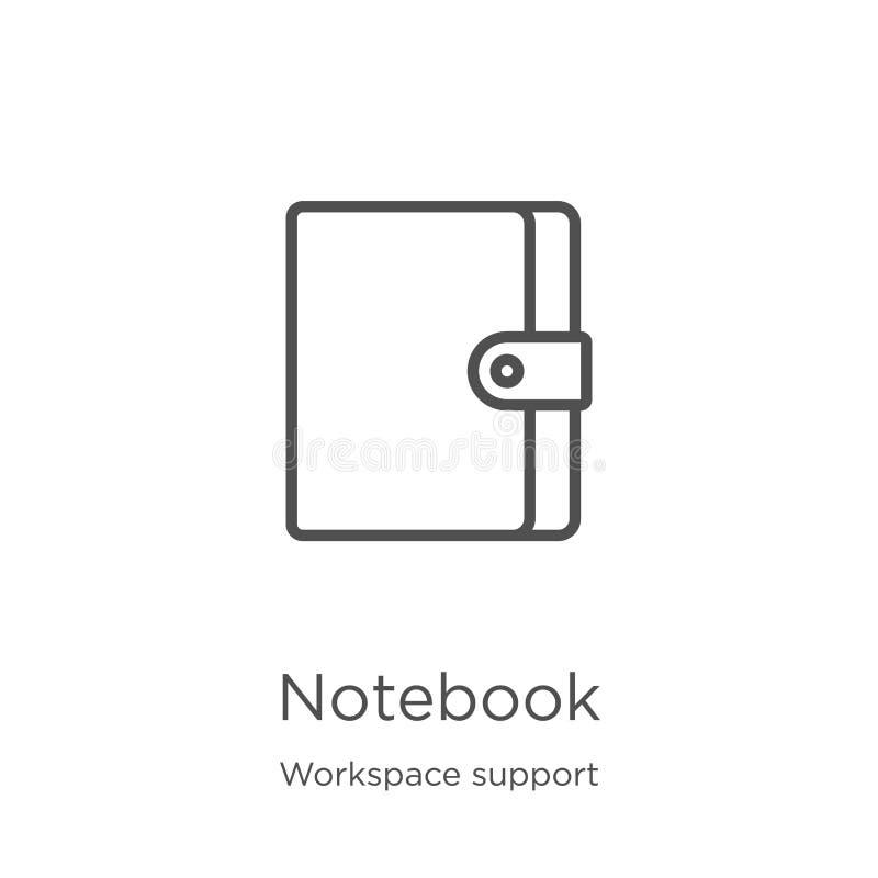 vecteur d'icône de carnet de collection de soutien d'espace de travail Ligne mince illustration de vecteur d'icône d'ensemble de  illustration stock