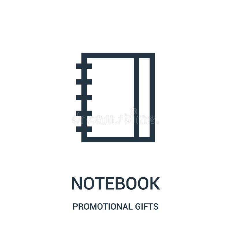 vecteur d'icône de carnet de la collection promotionnelle de cadeaux Ligne mince illustration de vecteur d'icône d'ensemble de ca illustration libre de droits