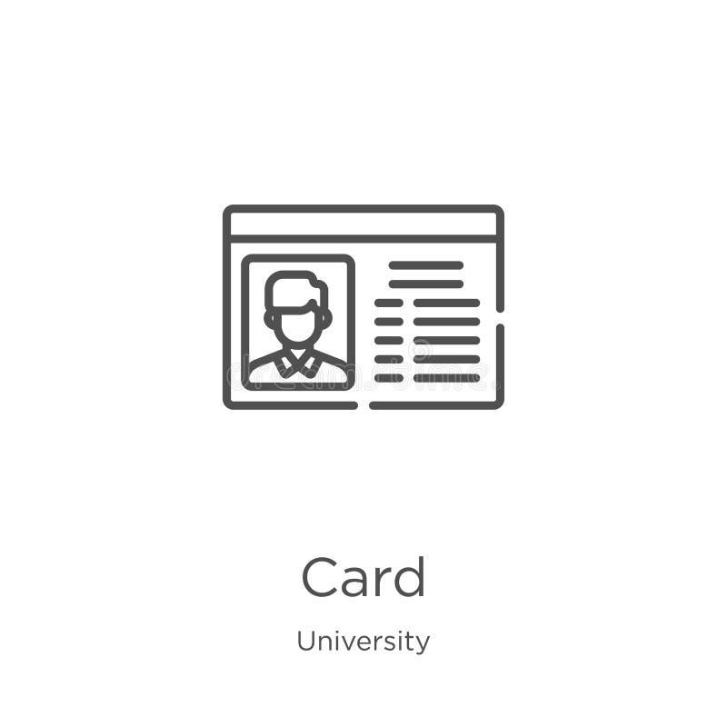 vecteur d'icône de carte de collection d'université r Contour, icône mince de linecard pour illustration libre de droits
