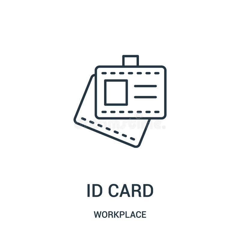 vecteur d'icône de carte d'identification de collection de lieu de travail Ligne mince illustration de vecteur d'icône d'ensemble illustration stock