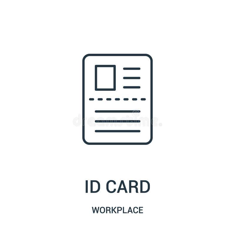 vecteur d'icône de carte d'identification de collection de lieu de travail Ligne mince illustration de vecteur d'icône d'ensemble illustration libre de droits
