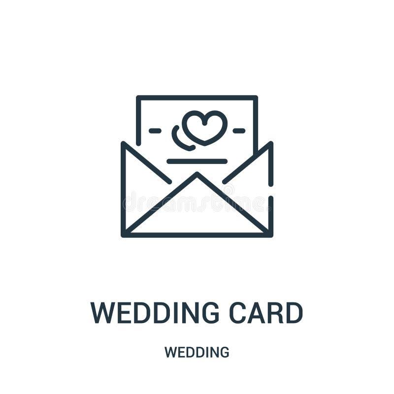 vecteur d'icône de carte de mariage d'épouser la collection Ligne mince illustration de vecteur d'icône d'ensemble de carte de ma illustration de vecteur