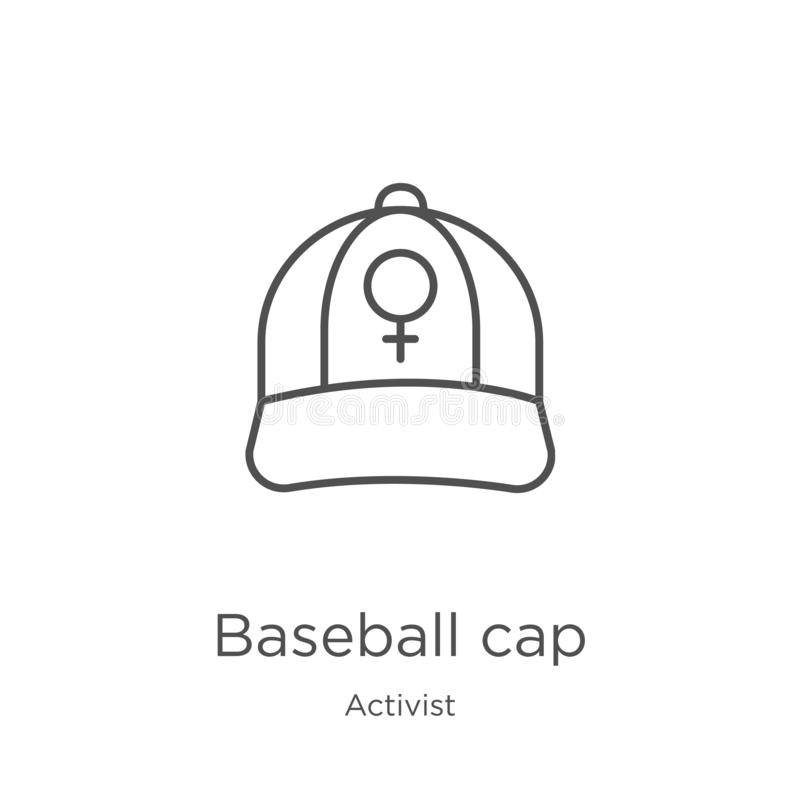 vecteur d'icône de casquette de baseball de collection d'activiste Ligne mince illustration de vecteur d'icône d'ensemble de casq illustration stock