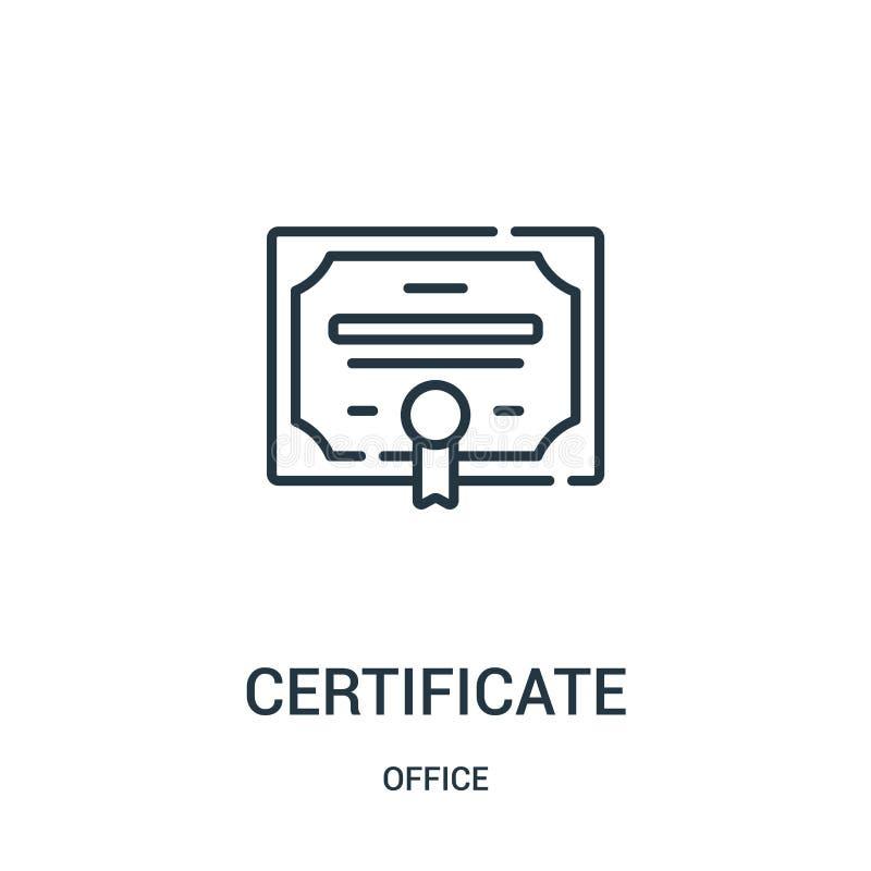 vecteur d'icône de certificat de collection de bureau Ligne mince illustration de vecteur d'ic?ne d'ensemble de certificat illustration libre de droits