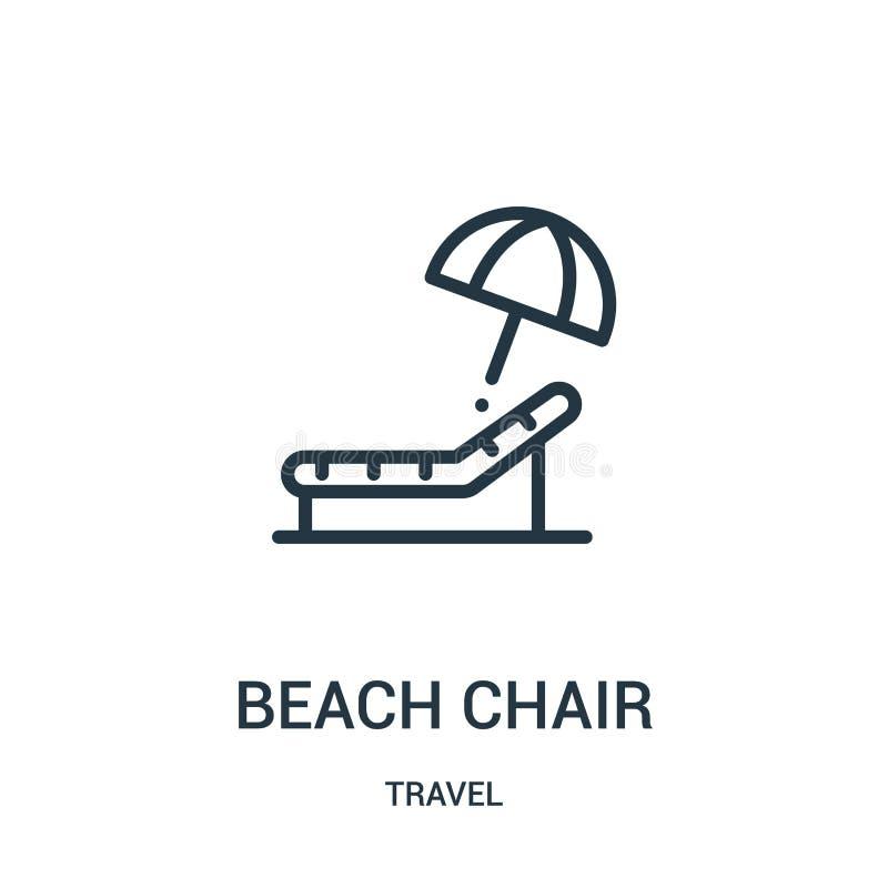 vecteur d'icône de chaise de plage de collection de voyage Ligne mince illustration de vecteur d'icône d'ensemble de chaise de pl illustration de vecteur