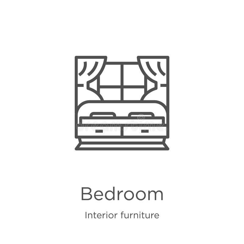 vecteur d'icône de chambre à coucher de la collection intérieure de meubles Ligne mince illustration de vecteur d'icône d'ensembl illustration libre de droits
