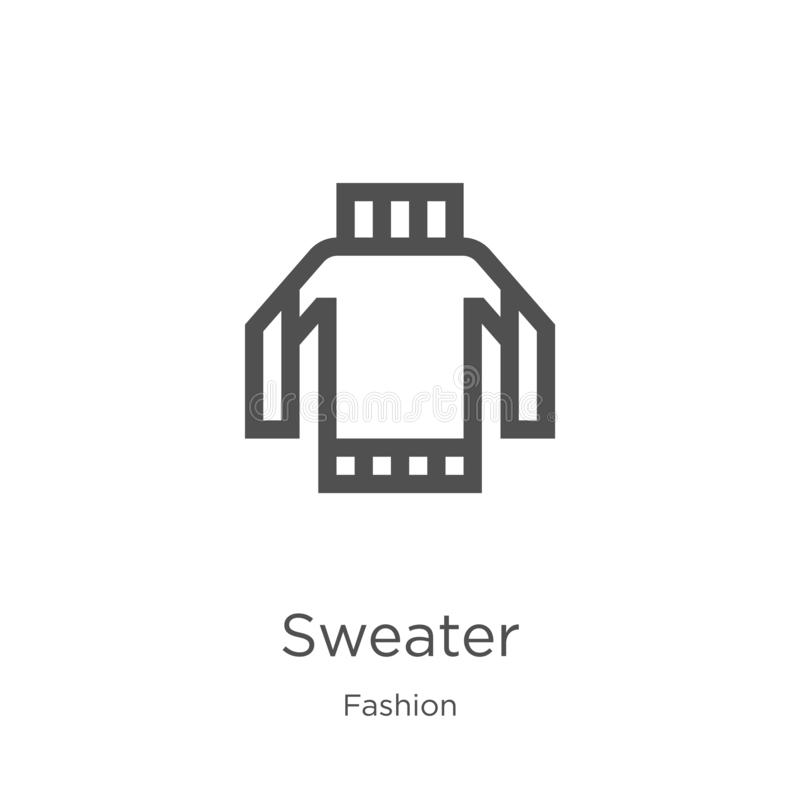 vecteur d'icône de chandail de collection de mode Ligne mince illustration de vecteur d'ic?ne d'ensemble de chandail Contour, lig illustration stock