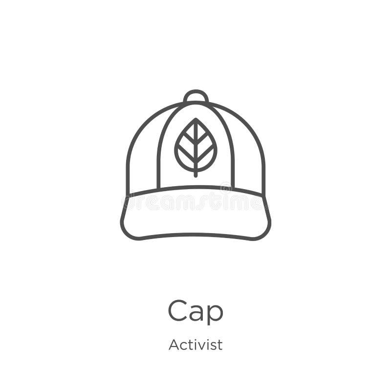 vecteur d'icône de chapeau de collection d'activiste Ligne mince illustration de vecteur d'icône d'ensemble de chapeau Contour, l illustration de vecteur