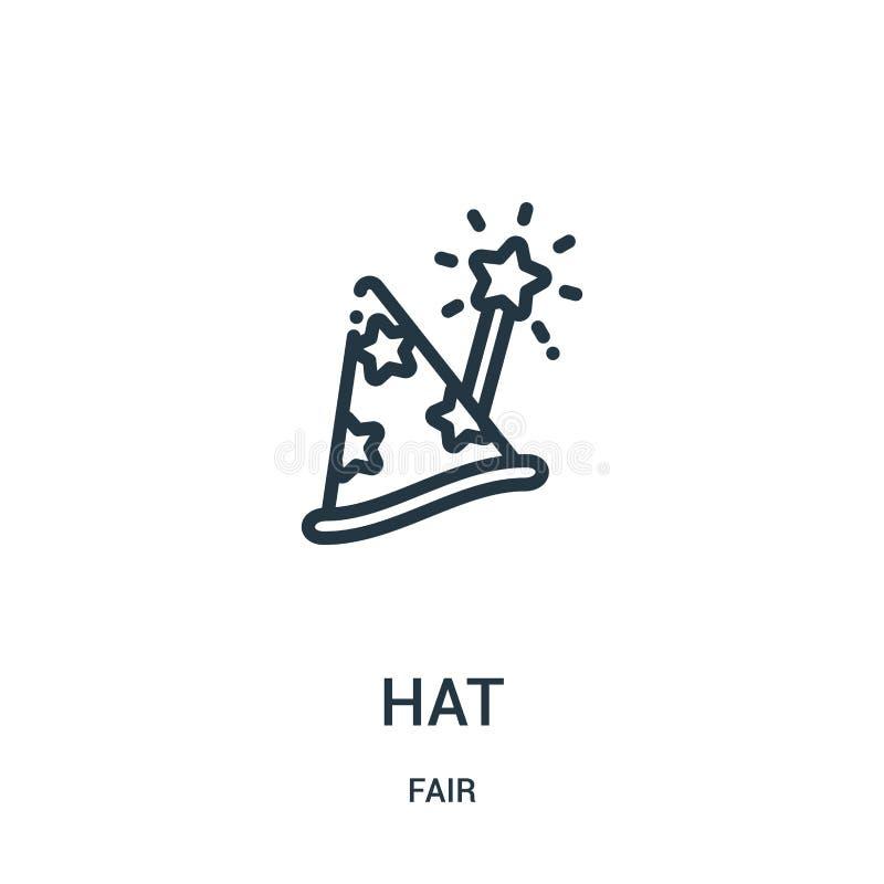 vecteur d'icône de chapeau de la collection juste r Symbole linéaire pour l'usage sur le Web et les applis mobiles illustration libre de droits