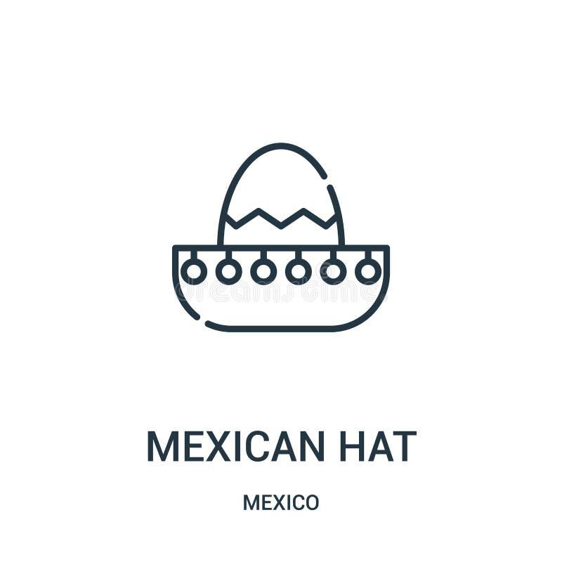 vecteur d'icône de chapeau mexicain de collection du Mexique Ligne mince illustration de vecteur d'icône d'ensemble de chapeau me illustration stock