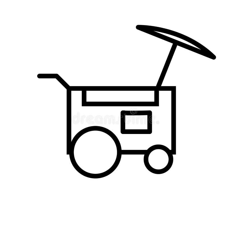 Vecteur d'icône de chariot de nourriture d'isolement sur le signe blanc de fond, de chariot de nourriture, la ligne ou le signe l illustration de vecteur