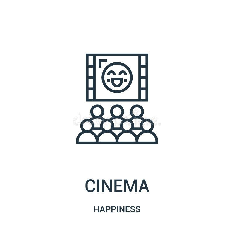 vecteur d'icône de cinéma de collection de bonheur Ligne mince illustration de vecteur d'icône d'ensemble de cinéma Symbole linéa illustration stock